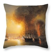 Capture Of The Fort Of Saint Jean Dulloa On 23rd November 1838 Throw Pillow by Jean Antoine Theodore Gudin
