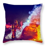 Car Arson  Throw Pillow