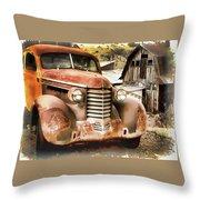 Car Full Of Memories, Ghost Town, Jerome, Arizona Throw Pillow