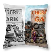 Car - Garage - Cherokee Parts Store - 1936 - Side By Side Throw Pillow