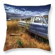 Car Graveyard Throw Pillow