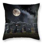 Car Henge Under The Moonlight Throw Pillow