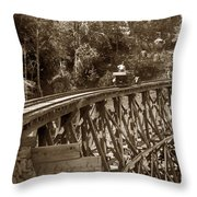 Car On A Wooden Railroad Trestle Circa 1916 Throw Pillow