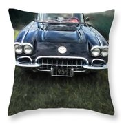 Car On The Grass Throw Pillow