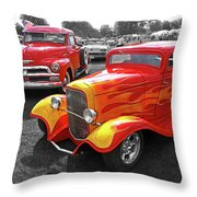 Car Show Fever - 54 Chevy With A 32 Ford Coupe Hot Rod Throw Pillow