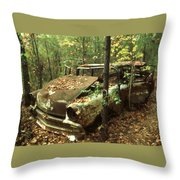 Car Wreck In The Forest Throw Pillow
