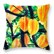 Carambolas Starfruits Throw Pillow