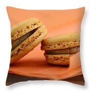 Caramel Orange Macarons Throw Pillow