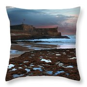 Fort In Carcavelos Beach Throw Pillow