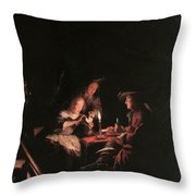 Card Players At Candlelight Throw Pillow