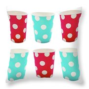 Card With Red And Blue Paper Disposable Glass In Polka Dot Isolated On White With Copy Space Throw Pillow