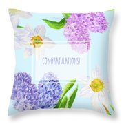 Card With Spring Flowers Throw Pillow