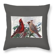 Cardinal Berries Throw Pillow