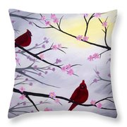 Cardinal Blossoms Throw Pillow