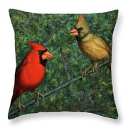 Cardinal Couple Throw Pillow by James W Johnson