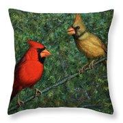 Cardinal Couple Throw Pillow by James W Johnson