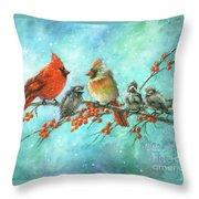 Cardinal Family Three Kids Throw Pillow