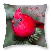 Cardinal Happy Holidays Throw Pillow