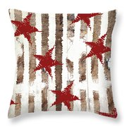 Cardinal Holiday Burlap Star Pattern Throw Pillow