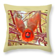 Cardinal In Flight Abstract Throw Pillow