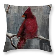 cardinal north carolina state bird in snow throw pillow