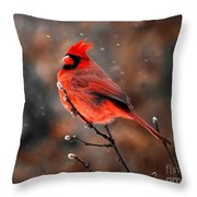 Cardinal On A Snowy Day Throw Pillow