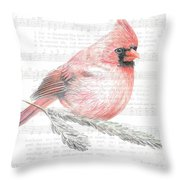 Cardinal On Joy To The World Throw Pillow