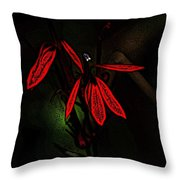 Cardinal  Plant Woodcut Throw Pillow