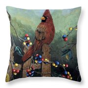 Cardinal Sitting On A Fence Throw Pillow
