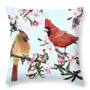 Cardinals And Apple Blossoms Throw Pillow