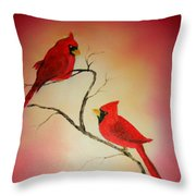 Cardinals At Sunset Throw Pillow