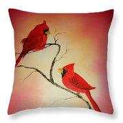 Cardinals At Sunset Throw Pillow