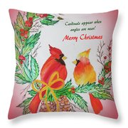 Cardinals Painted By Pat Napper  Throw Pillow