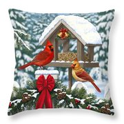 Cardinals Christmas Feast Throw Pillow by Crista Forest