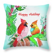 Cardinals Painted By Judith Brilhamte Throw Pillow