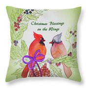 Cardinals Painted By Marcie Taylor  Throw Pillow
