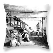 Carding Engine And Drawing Frame, 1835 Throw Pillow