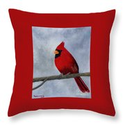 Cardnial Throw Pillow by Tracey Goodwin