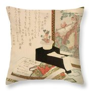 Cards Fukujuso Flowers And Screen Throw Pillow
