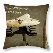 Carefree Summer Days On My Bike Throw Pillow