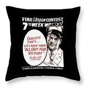 Carelessness Causes Fires Throw Pillow