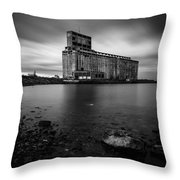 Cargill Grain Lies Quietly On The Shores Of Lake Erie Throw Pillow
