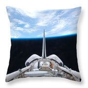 Cargo Bay Of Atlantis On Sts-132 Throw Pillow by Artistic Panda