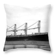 Cargo Ship On River Throw Pillow