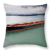 Cargo Ship Under Stormy Sky Throw Pillow