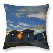 Carhenge - Nebraska - Sunset Throw Pillow