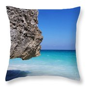 Caribbean Beach Rock Tulum Mexico Throw Pillow