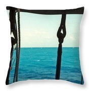 Caribbean From A Square Rigger Throw Pillow