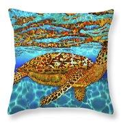 Caribbean Hawksbill Sea Turtle Throw Pillow