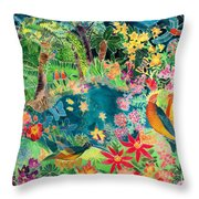 Caribbean Jungle Throw Pillow